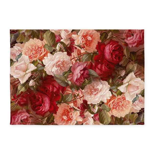 Floral Pink Roses 5'x7'Area Rug By Artandornament