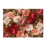 Floral pink roses 5x7 area Area Rugs