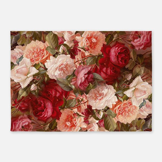 Floral Pink Roses 5'x7'Area Rug