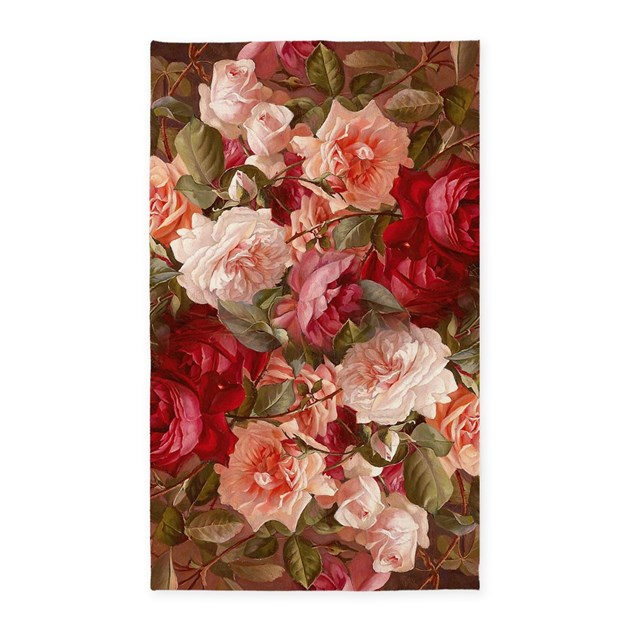 Floral Pink Roses 3'x5' Area Rug By Artandornament