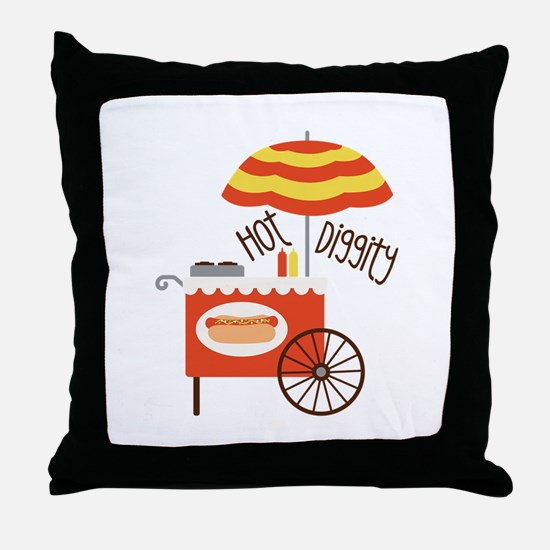 Hot Diggity Throw Pillow