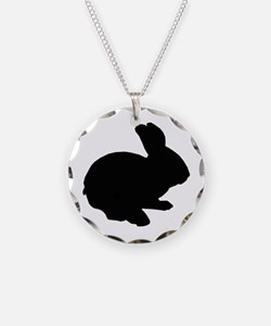 Black Silhouette Easter Bunny Necklace