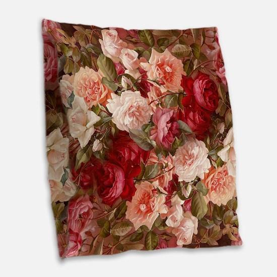 Floral Pink Roses Burlap Throw Pillow