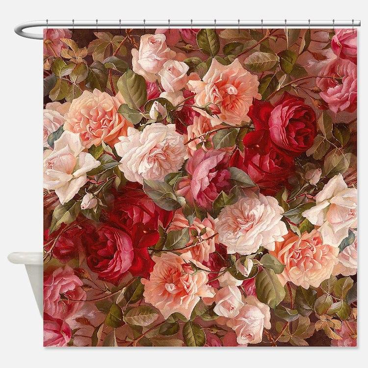 Vintage Floral Pattern Shower Curtains Vintage Floral