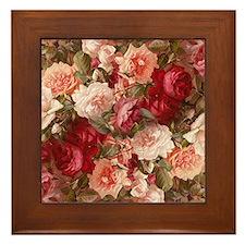Floral Pink Roses Framed Tile