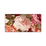 Floral pink roses aluminum License Plates