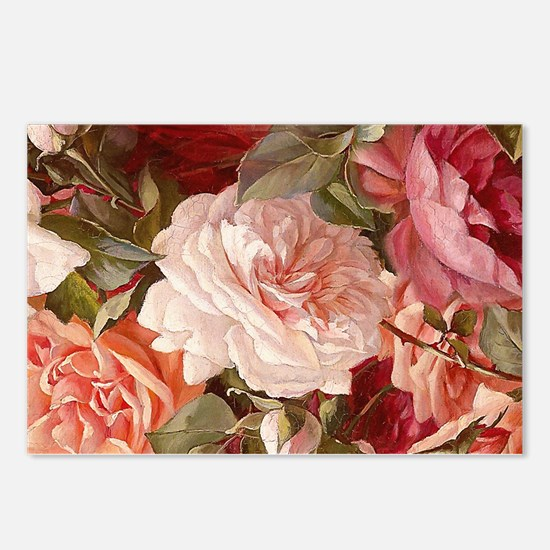 Floral Pink Roses Postcards (Package of 8)