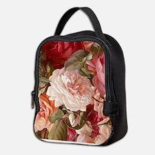 Floral Pink Roses Neoprene Lunch Bag