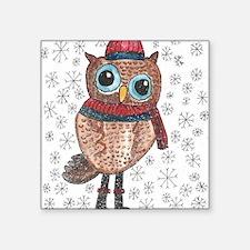 "January Owl 1 Square Sticker 3"" x 3"""