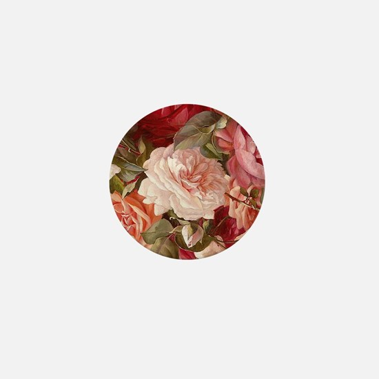 Floral Pink Roses Mini Button