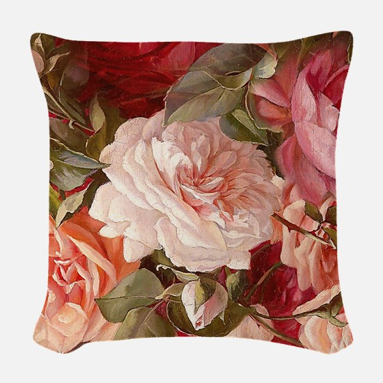Floral Pink Roses Woven Throw Pillow