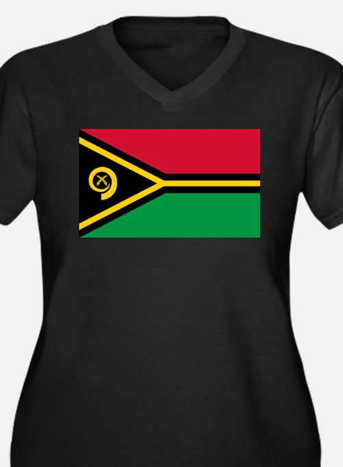 Vanuatu flag Women's Plus Size V-Neck Dark T-Shirt