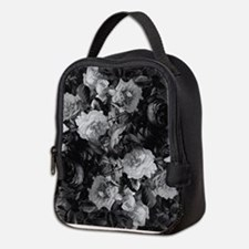 Floral Grey Roses Neoprene Lunch Bag