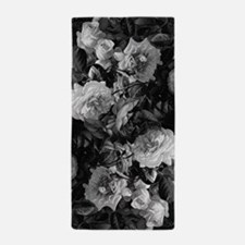 Floral Grey Roses Beach Towel