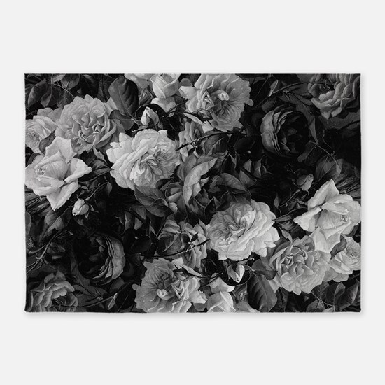 Floral Grey Roses 5'x7'Area Rug