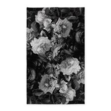 Floral Grey Roses 3'x5' Area Rug