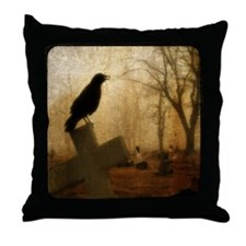 Crow On Cross Throw Pillow