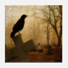 Crow On Cross Tile Coaster