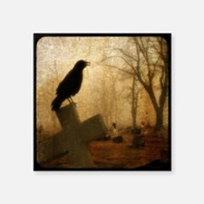 "Crow On Cross Square Sticker 3"" x 3"""