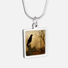 Crow On Cross Silver Square Necklace