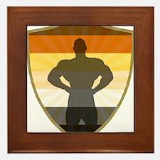 Bear Pride Colors Muscle Bear Shield Framed Tile