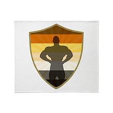 Bear Pride Colors Muscle Bear Shield Throw Blanket
