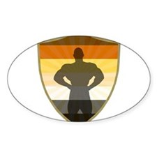 Bear Pride Colors Muscle Bear Shield Decal