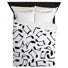 Music Notes White and Black Queen Duvet
