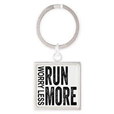 Worry Less, Run More Square Keychain