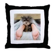 Yorkie Between Feet Throw Pillow