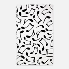Music Notes White and Black 3'x5' Area Rug