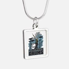 Its All About Drums Silver Square Necklace
