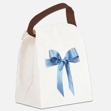 Baby blue satin bow Canvas Lunch Bag