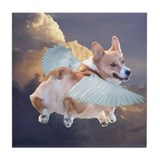 Welsh corgi angel Tile Coasters