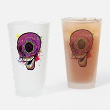 Purple Dia de Los Muertos Drinking Glass