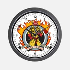 Firefighter Fear No Fire Wall Clock