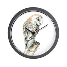 Watercolor Barn Owl Bird Nature Art Wall Clock