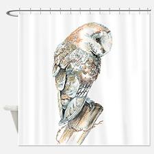 Watercolor Barn Owl Bird Nature Art Shower Curtain