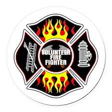 Volunteer Firefighter Round Car Magnet