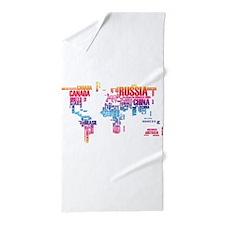 Typography Map Beach Towel