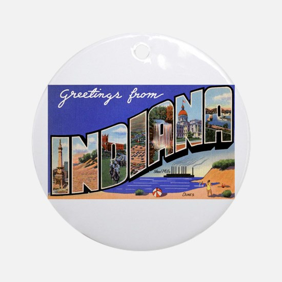 Indiana Greetings Ornament (Round)