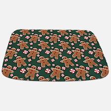Gingerbread Men Cookies Candies Green Bathmat