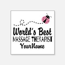 "World's Best Massage Therap Square Sticker 3"" x 3"""
