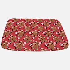 Gingerbread Men Cookies Candies Red Bathmat