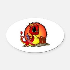 Baby Dragon Guarding Treasure Oval Car Magnet