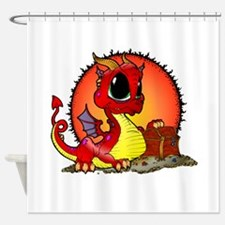 Baby Dragon Guarding Treasure Shower Curtain