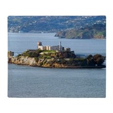 Alcatraz Island aerial view Throw Blanket