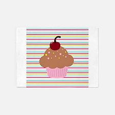 Pink Cupcake on Stripes 5'x7'Area Rug