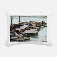 seals at fishermans whar Rectangular Canvas Pillow