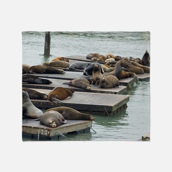seals at fishermans wharf Throw Blanket